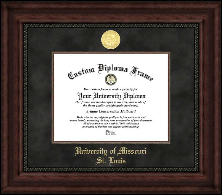 College - University of Missouri Saint Louis Tritons - Gold Medallion - Suede Mat - Mahogany - Diploma Frame