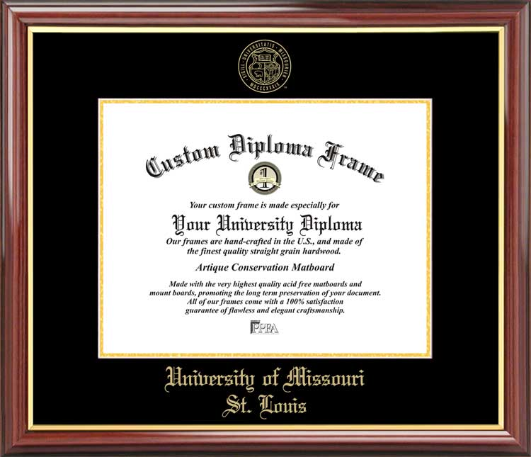 College - University of Missouri Saint Louis Tritons - Embossed Seal - Mahogany Gold Trim - Diploma Frame