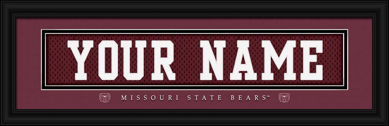 College - Missouri State Bears - Personalized Jersey Nameplate - Framed Picture