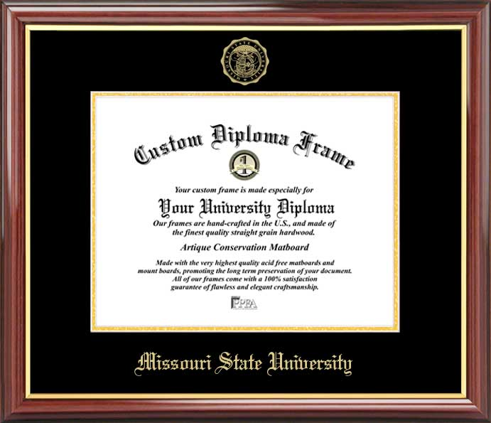 College - Missouri State University Bears - Embossed Seal - Mahogany Gold Trim - Diploma Frame