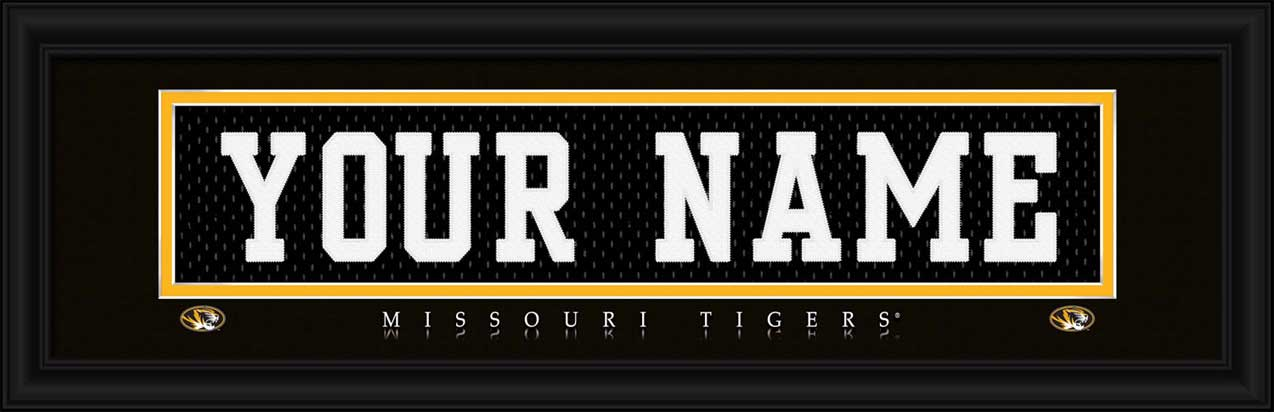 College - Missouri Tigers - Personalized Jersey Nameplate - Framed Picture
