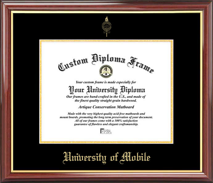 College - University of Mobile Rams - Embossed Seal - Mahogany Gold Trim - Diploma Frame