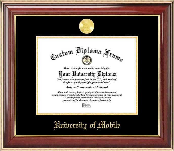 College - University of Mobile Rams - Gold Medallion - Mahogany Gold Trim - Diploma Frame