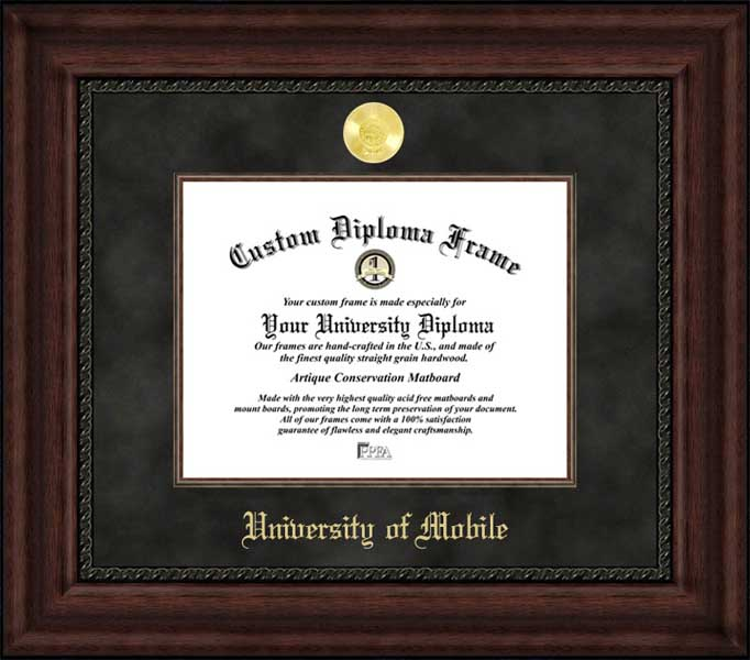 College - University of Mobile Rams - Gold Medallion - Suede Mat - Mahogany - Diploma Frame