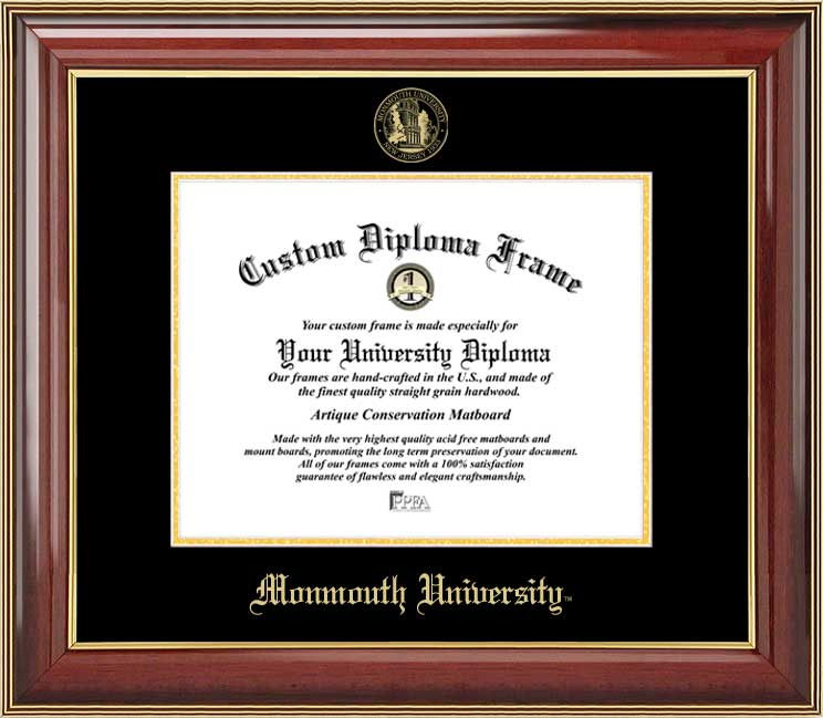 College - Monmouth University Hawks - Embossed Seal - Mahogany Gold Trim - Diploma Frame