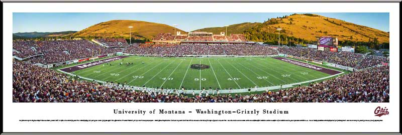 College - Montana Grizzlies - Washington-Grizzly Stadium - Framed Picture