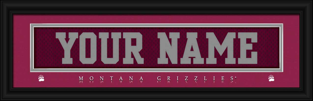 College - Montana Grizzlies - Personalized Jersey Nameplate - Framed Picture