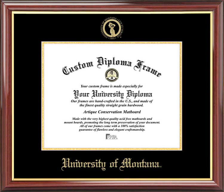 College - University of Montana Grizzlies - Embossed Seal - Mahogany Gold Trim - Diploma Frame