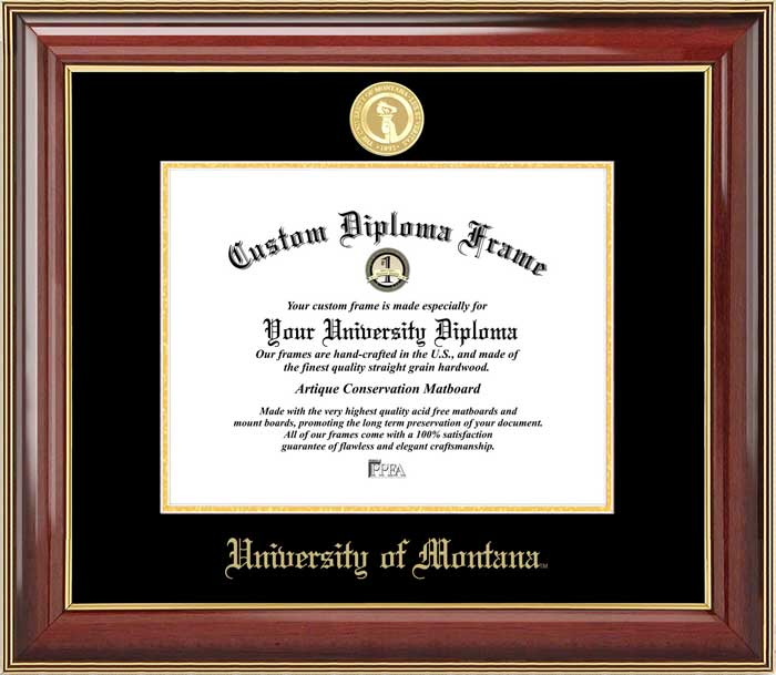 College - University of Montana Grizzlies - Gold Medallion - Mahogany Gold Trim - Diploma Frame