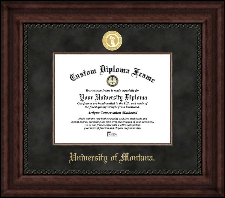 College - University of Montana Grizzlies - Gold Medallion - Suede Mat - Mahogany - Diploma Frame