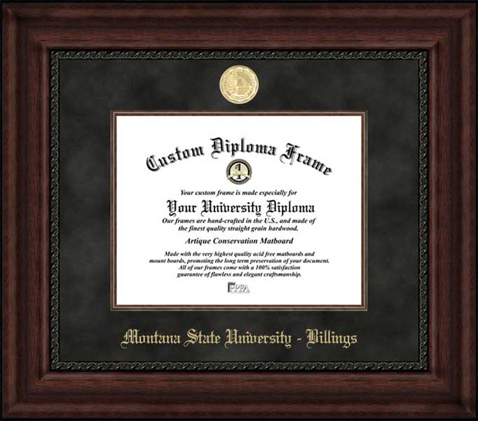 College - Montana State University Billings Yellowjackets - Gold Medallion - Suede Mat - Mahogany - Diploma Frame