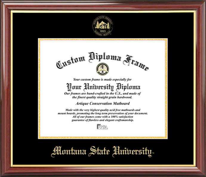 College - Montana State University Bobcats - Embossed Seal - Mahogany Gold Trim - Diploma Frame