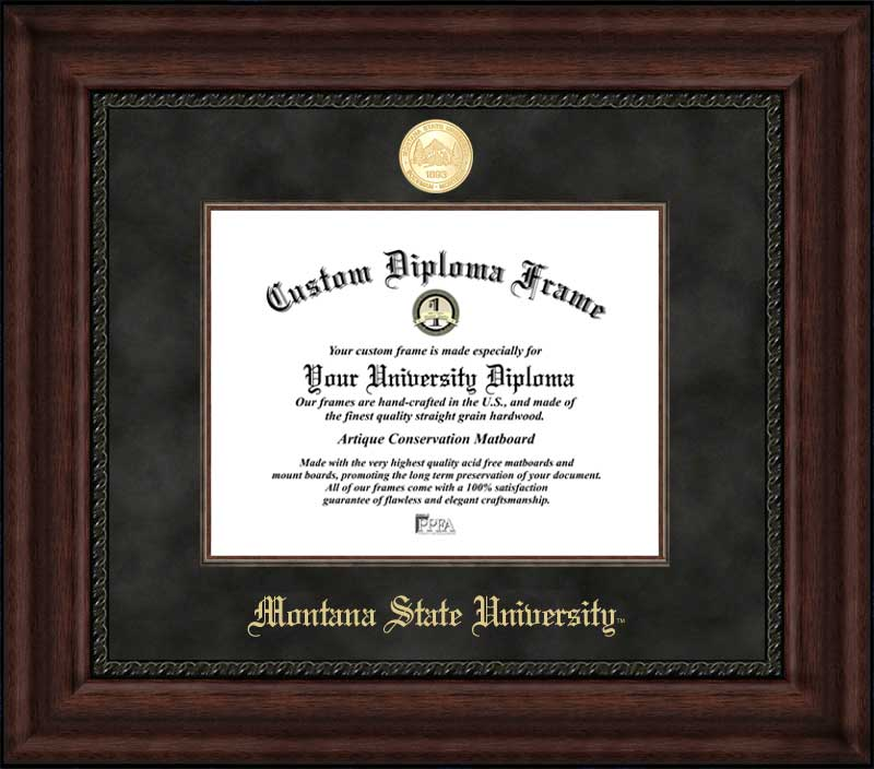 College - Montana State University Bobcats - Gold Medallion - Suede Mat - Mahogany - Diploma Frame