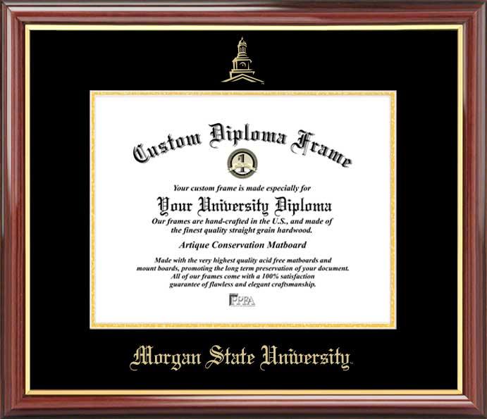 College - Morgan State University Bears - Embossed Seal - Mahogany Gold Trim - Diploma Frame