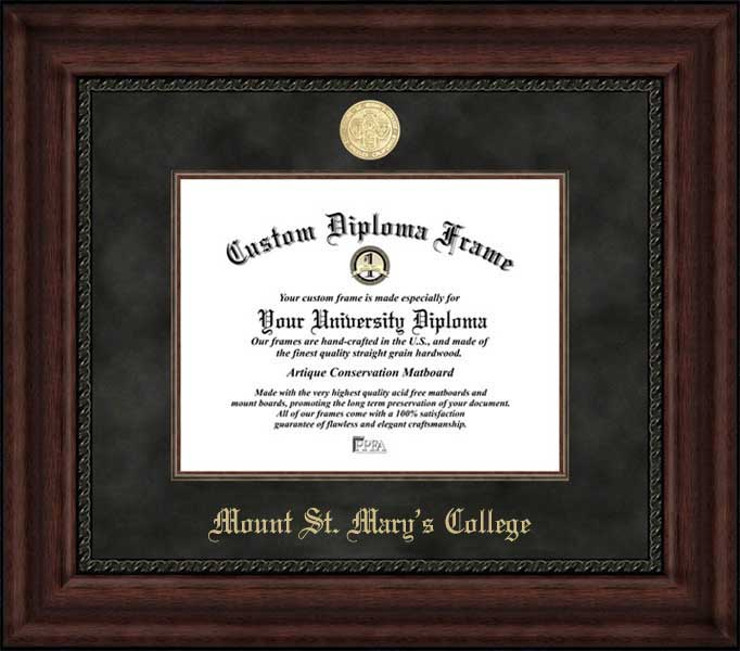 College - Mount St. Mary's College (CA) Athenians - Gold Medallion - Suede Mat - Mahogany - Diploma Frame