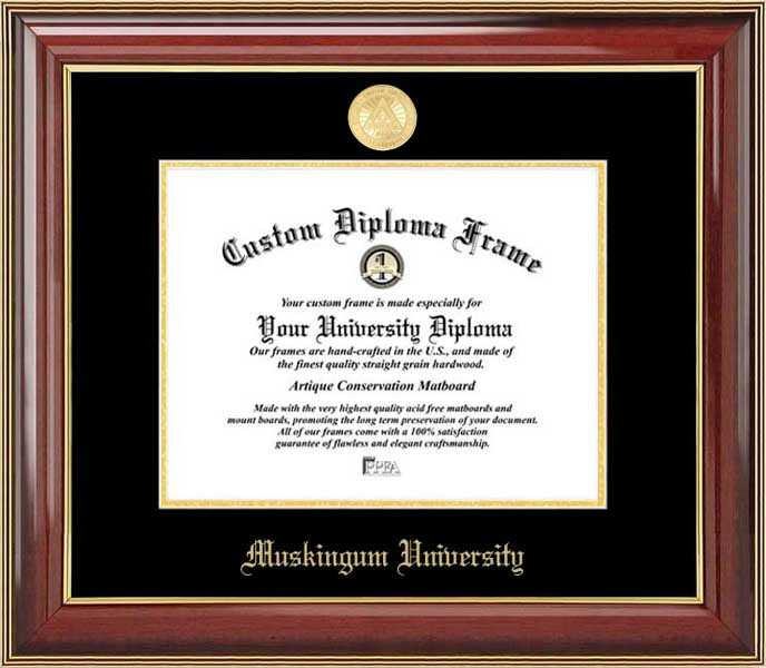 College - Muskingum University Fighting Muskies - Gold Medallion - Mahogany Gold Trim - Diploma Frame
