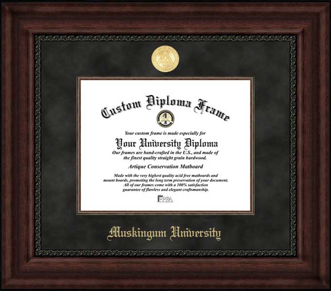 College - Muskingum University Fighting Muskies - Gold Medallion - Suede Mat - Mahogany - Diploma Frame