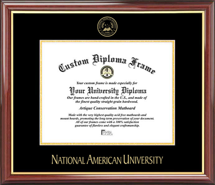 College - National American University Mavericks - Embossed Seal - Mahogany Gold Trim - Diploma Frame