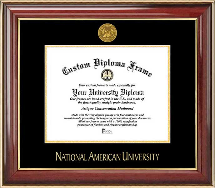 College - National American University Mavericks - Gold Medallion - Mahogany Gold Trim - Diploma Frame