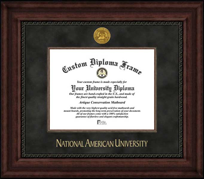 College - National American University Mavericks - Gold Medallion - Suede Mat - Mahogany - Diploma Frame