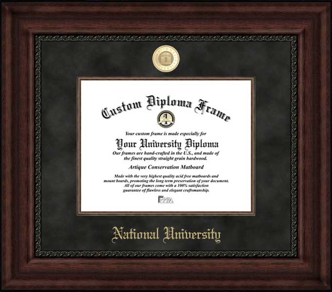 College - National University  - Gold Medallion - Suede Mat - Mahogany - Diploma Frame