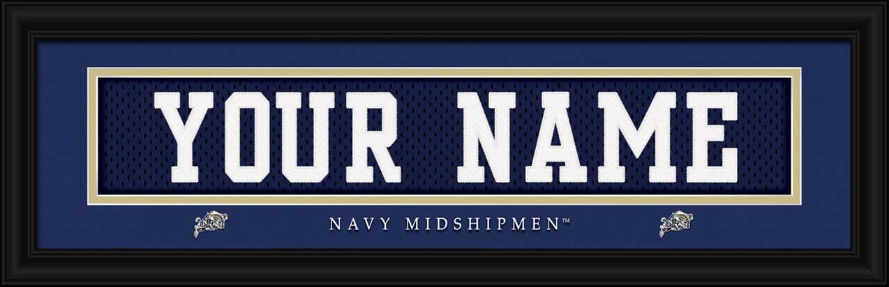 College - Navy Midshipmen - Personalized Jersey Nameplate - Framed Picture