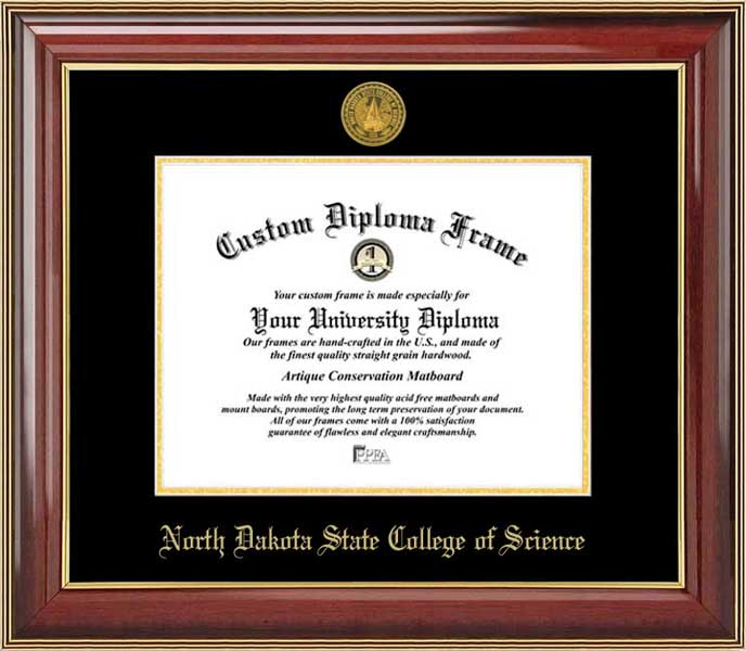 College - North Dakota State College of Science Wildcats - Gold Medallion - Mahogany Gold Trim - Diploma Frame