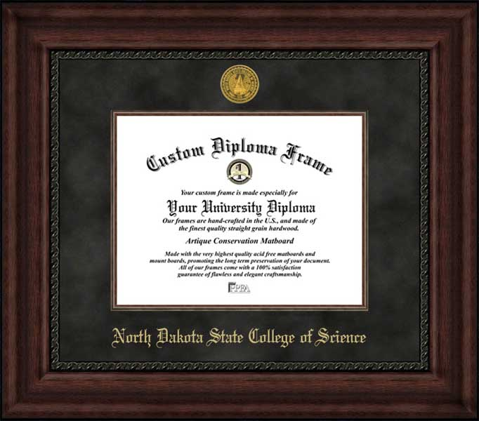 College - North Dakota State College of Science Wildcats - Gold Medallion - Suede Mat - Mahogany - Diploma Frame
