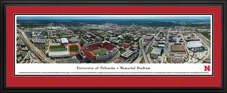 College - Nebraska Cornhuskers - Memorial Stadium Aerial 2013 - Framed Picture