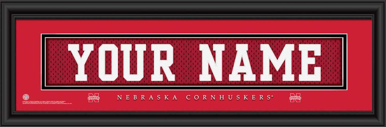 College - Nebraska Cornhuskers - Personalized Jersey Nameplate - Framed Picture
