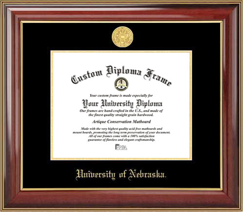 College - University of Nebraska Cornhuskers - Gold Medallion - Mahogany Gold Trim - Diploma Frame