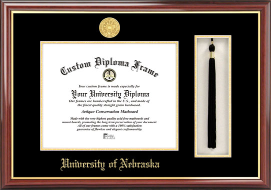College - University of Nebraska Cornhuskers - Gold Medallion - Tassel Box - Mahogany - Diploma Frame