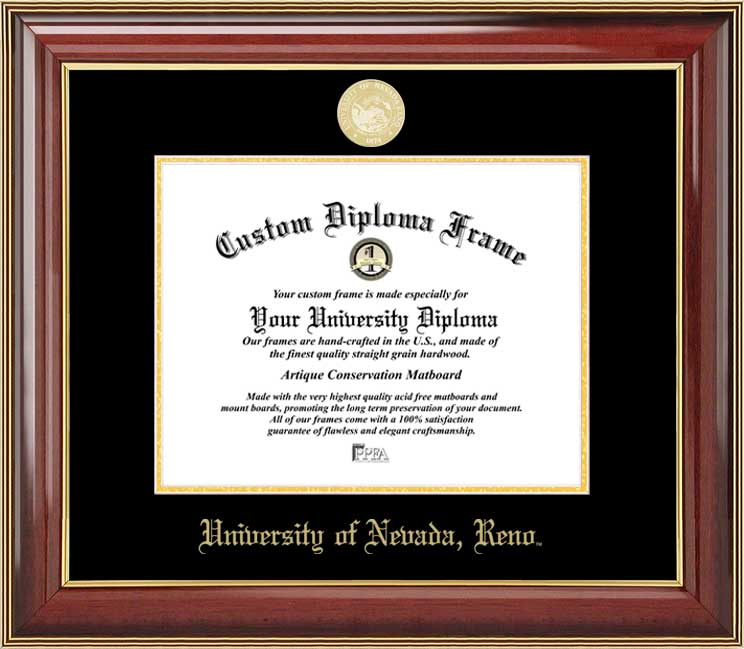 College - University of Nevada Reno Wolf Pack - Gold Medallion - Mahogany Gold Trim - Diploma Frame