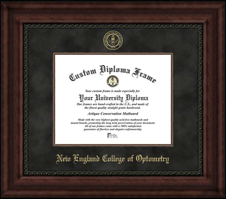College - New England College of Optometry  - Embossed Seal - Suede Mat - Mahogany - Diploma Frame