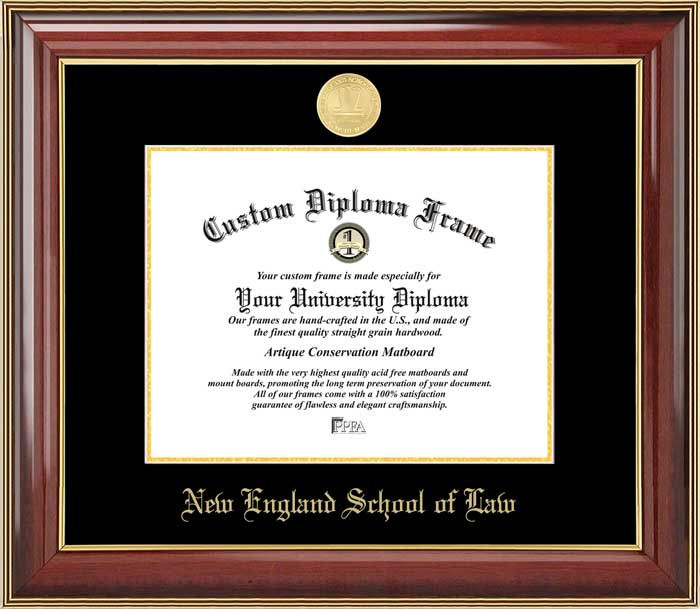 College - New England School of Law  - Gold Medallion - Mahogany Gold Trim - Diploma Frame