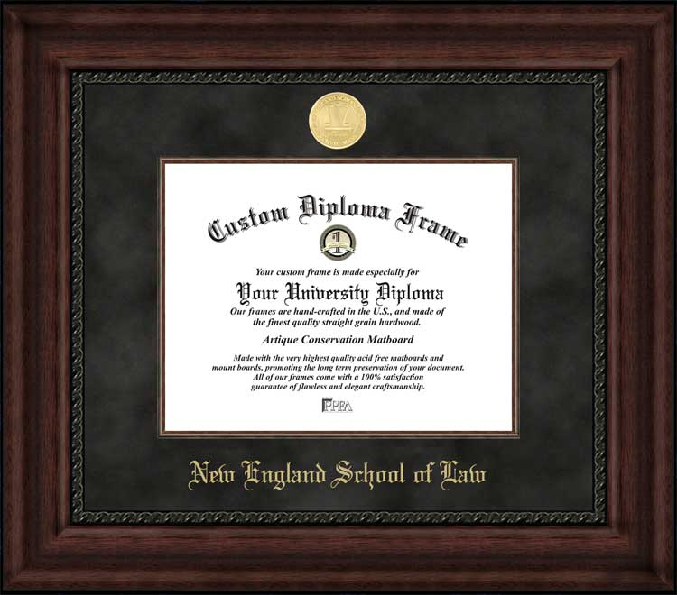 College - New England School of Law  - Gold Medallion - Suede Mat - Mahogany - Diploma Frame