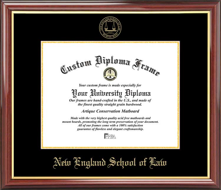 College - New England School of Law  - Embossed Seal - Mahogany Gold Trim - Diploma Frame