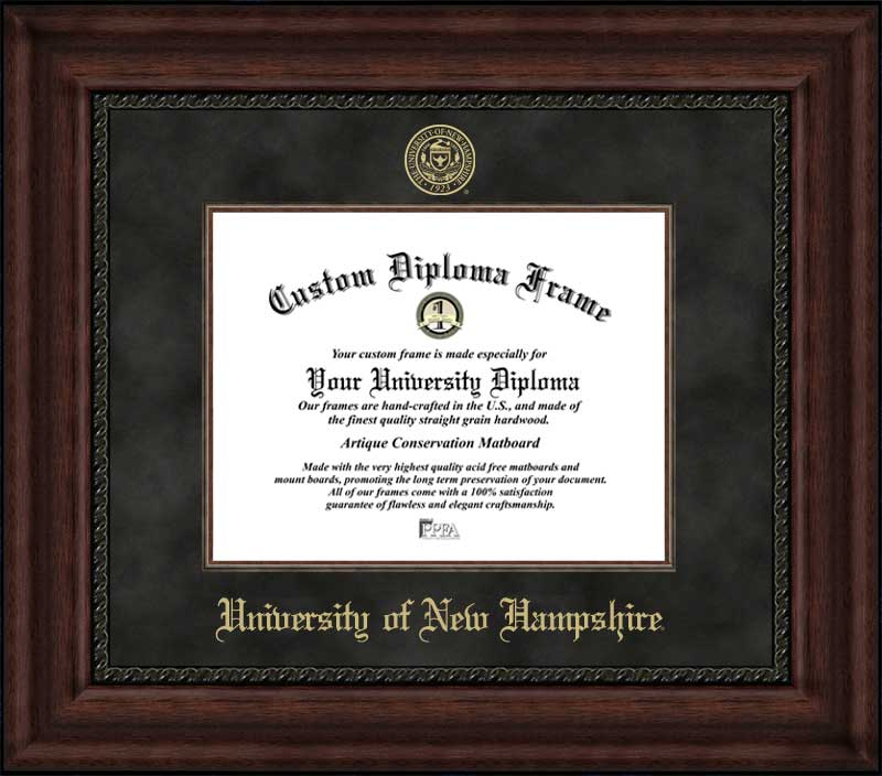 College - University of New Hampshire Wildcats - Embossed Seal - Suede Mat - Mahogany - Diploma Frame
