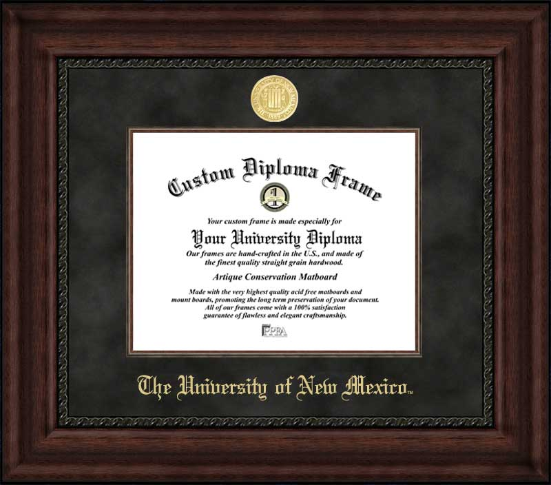 College - University of New Mexico Lobos - Gold Medallion - Suede Mat - Mahogany - Diploma Frame