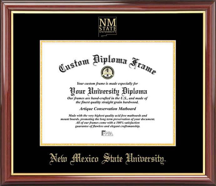 College - New Mexico State University Aggies - Embossed Seal - Mahogany Gold Trim - Diploma Frame