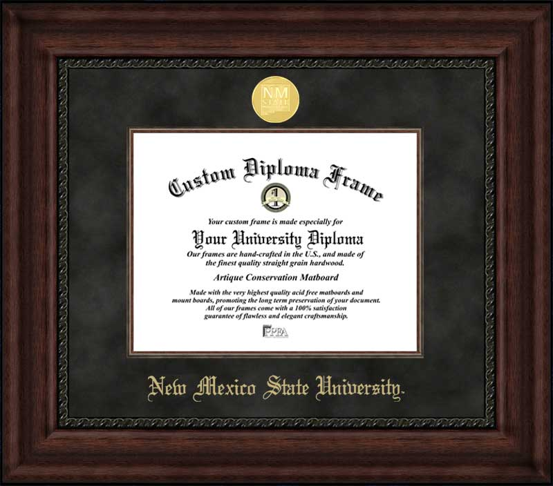 College - New Mexico State University Aggies - Gold Medallion - Suede Mat - Mahogany - Diploma Frame