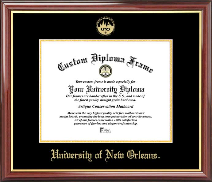 College - University of New Orleans Privateers - Embossed Seal - Mahogany Gold Trim - Diploma Frame