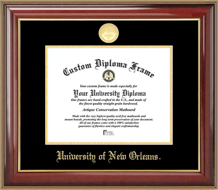 College - University of New Orleans Privateers - Gold Medallion - Mahogany Gold Trim - Diploma Frame