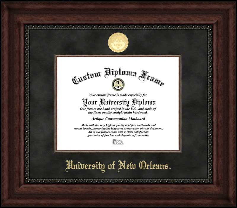 College - University of New Orleans Privateers - Gold Medallion - Suede Mat - Mahogany - Diploma Frame