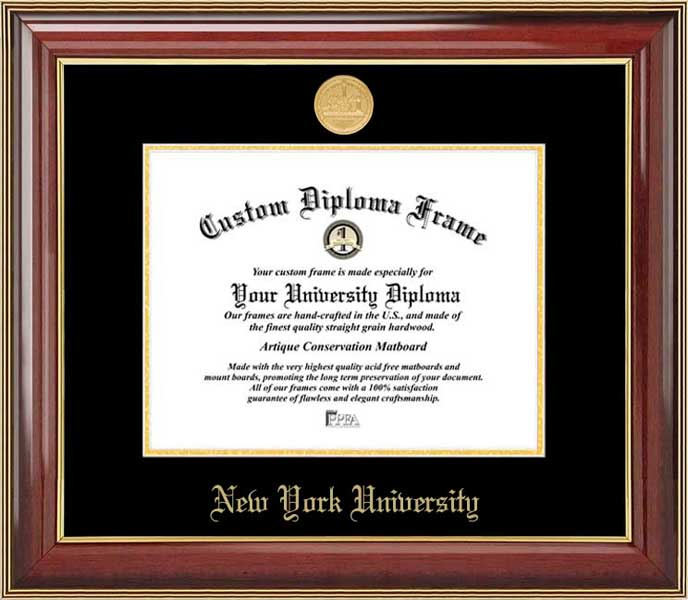 College - New York University Violets - Gold Medallion - Mahogany Gold Trim - Diploma Frame