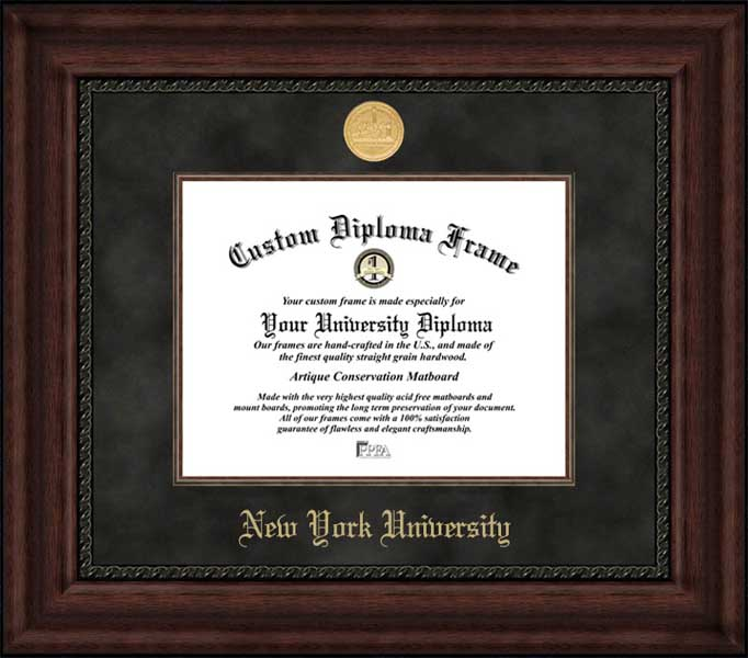 College - New York University Violets - Gold Medallion - Suede Mat - Mahogany - Diploma Frame