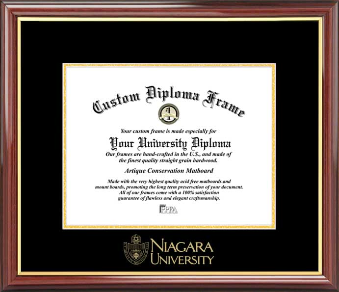 College - Niagara University Purple Eagles - Embossed Seal - Mahogany Gold Trim - Diploma Frame