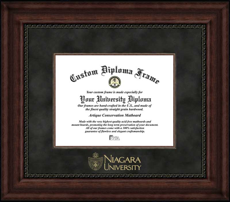 College - Niagara University Purple Eagles - Embossed Seal - Suede Mat - Mahogany - Diploma Frame