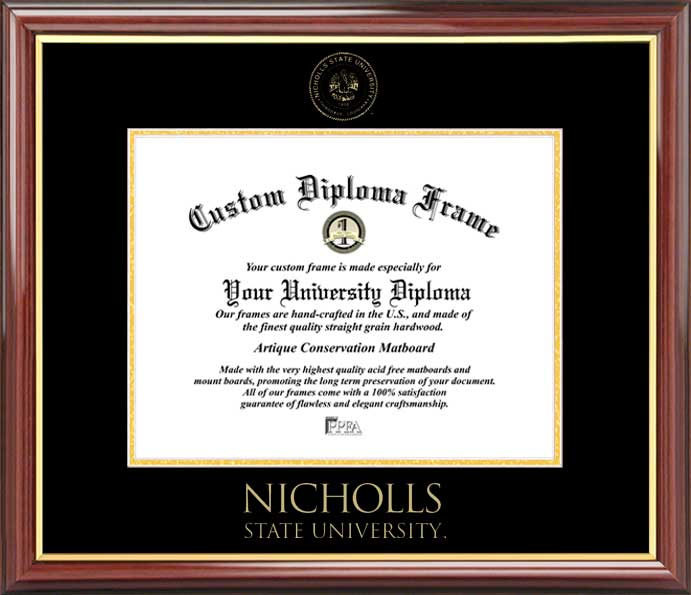 College - Nicholls State University Colonels - Embossed Seal - Mahogany Gold Trim - Diploma Frame