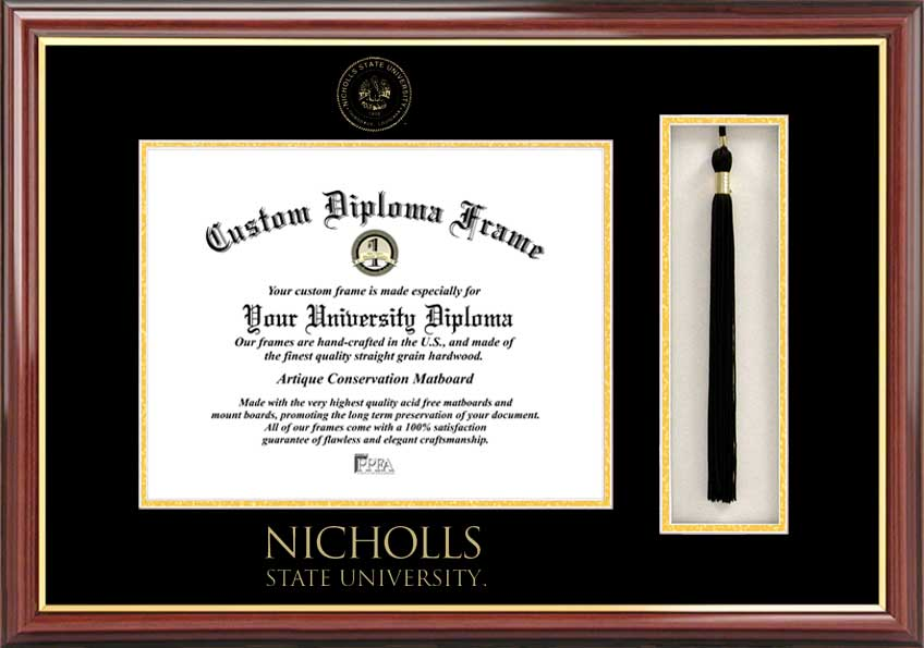 College - Nicholls State University Colonels - Embossed Seal - Tassel Box - Mahogany - Diploma Frame